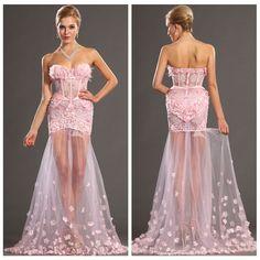 Aliexpress.com: Beli 2013 bunga musim panas Sayang seksi korset Tulle manik manik gaun Prom melihat melalui merah muda mewah tinggi rendah pesta liburan gaun malam dari Handal pernikahan korset pemasok di DressZ-Custom Top Quality Dresses