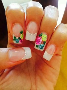 French bianco rose Super Cute Nails, Great Nails, Cute Nail Art, Fabulous Nails, Nail Polish Art, Gel Nail Art, French Tip Nails, Flower Nail Art, Hot Nails