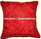 Buy multi square shaped mirrored embroidered Indian boho style throw pillow cover to give elegant look to room furniture.