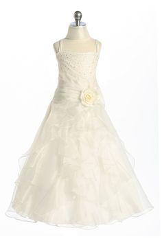 Ivory Jeweled Bodice Ruffle Layered Organza Flower Girl Dress L4259I $54.95 on www.GirlsDressLine.Com