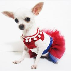 4th Of July Dog Tutu Dresses Patriotic Day Dog Clothes by myknitt