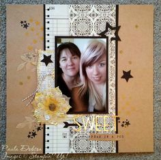 "Stampinantics: SWEET PEAS IN A POD |  Project Life Point & Click Photopolymer Stamp Set;  Alphabet Rotary Stamp;  Banner Banter Stamp Set;  Perfect Print Alphabet Bigz Die;  Stars Framelits;  Flower Frenzy Bigz L Die;  What's Up Punch;  Kraft 12"" X 12"" Card Stock;  Gold Foil Sheets;  Basic Black 12"" X 12"" Card Stock;  Typeset DSP;  Natural Filter Paper;  Tuxedo Black Memento Ink Pad;  Antique Brads;  Basic Black Baker's Twine;  Gold Sequin Trim"