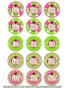 Monkey Love Mod Pink Animal Luau Kids Birthday Party Favor Temporary Tattoos