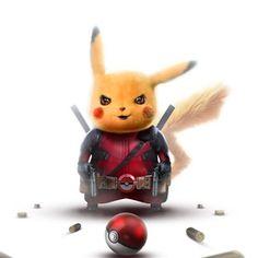 Art by BossLogic Pikachu - Deadpool Pikachu Pikachu, Pokemon Go, Pichu Pokemon, Pikachu Memes, Deadpool Pikachu, Deadpool Art, Deadpool Quotes, Deadpool Tattoo, Deadpool Costume