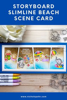 """Today we are celebrating summer a bit with this beach scene card featuring a couple of older Mama Elephant Stamp/Die Sets: Beach Chickies and Summer Splash! The Slim Comic Strip Creative Cuts Die is the perfect way to frame up each mini """"scene. I love revisiting previously released stamps and dies for a brand new design! Mama Elephant Stamps, Beach Scenes, Storyboard, Comic Strips, Slim, Couple, Comics, Mini, Creative"""