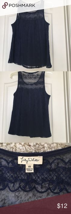 Gorgeous blue tank with lace detail Worn once for family photos. In excellent condition like new. From a non-smoking home Lily White Tops Tank Tops