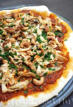 #PataksMom, pizza, poulet, indien, sauce de poulet au beurre épicé, noix de cajou, coriandre,