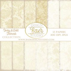 Ivory, Gold, Cream, Tan and Beige Damask digital papers are designed in soft and neutral slightly distressed backgrounds. These instant download papers make for stunning wedding invitations, album layouts, cards, scrapbooking, anniversary invites and photo cards. A few of the papers have subtle metallic gold patterns.