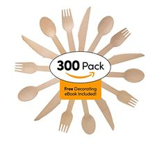 Disposable Wooden Cutlery Set - 300 Pieces 100 Spoons 100 Forks & 100 Knives | For Parties Camping Picnics Weddings BBQ Birthdays Beach | Eco Friendly Biodegradable Compostable Utensils Combo Pack - http://partysuppliesanddecorations.com/disposable-wooden-cutlery-set-300-pieces-100-spoons-100-forks-100-knives-for-parties-camping-picnics-weddings-bbq-birthdays-beach-eco-friendly-biodegradable-compostable-utensils-combo-pack.html