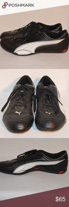 Puma Cat Womens Black Leather Lace Up Sneaker sz10 Up for sale is a stylish  pre a355c4e40