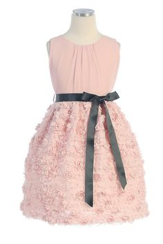 SK_365 - Flower Girl / Holiday Dress Style 365- Sleeveless Chiffon Dress with Rosebud Appliques - Light Pinks - Flower Girl Dress For Less