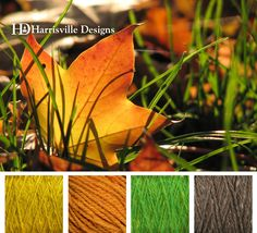 Happy Autumn! Fallen leaf color palette using Harrisville Designs yarn: Goldenrod, Gold, Kiwi, and Toffee.