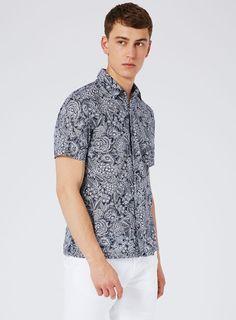 Navy Floral Print Short Sleeve Casual Shirt