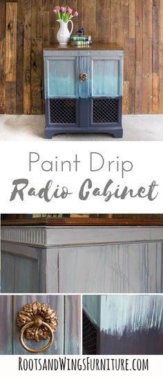 Create a unique paint drip finish that will make any piece stand out. This old radio cabinet was up-cycled to make a new bar or storage cabinet. Painting Furniture Diy, Painted Furniture, Painted Furniture Colors, Furniture Painting Tips, Diy Painting, Diy Furniture Projects, Decor Project, Painted Dresser, Diy Home Decor Projects