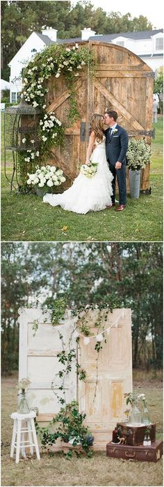 rustic old door and wooden box lace wedding backdrop ideas #weddings #rusticweddings #weddingbackdrops #weddingideas