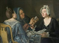 Pehr Hilleström, Three Women Telling Fortune in Coffee, 80 x (Stockholms universitets konstsamling, J. Berg Collection The paintings of the Swedish artist Pehr Hilleström give us a unique view directly of ordinary life in the century. 18th Century Clothing, 18th Century Fashion, Stockholm, Dutch Women, 18th Century Costume, Fortune Telling, Ordinary Lives, Woman Reading, Portraits