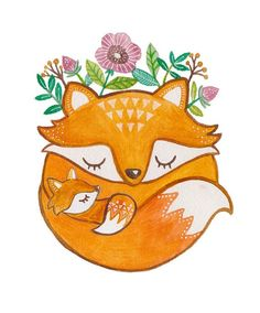 Red Fox Asleep in a Flower Garden Art Illustration by Laura Uy. This would make a wonderful fox tattoo!