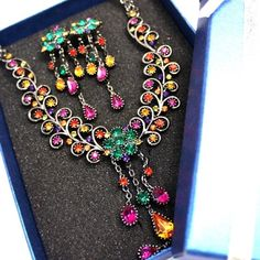 Necklace Set Earings Crystal Color Vintage Layer Elegant With Gifts Box NS468A