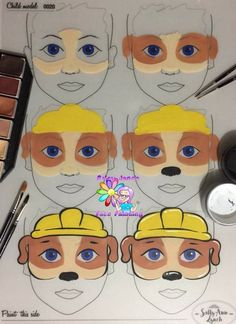 Face painting motifs for your party!Face painting motifs for your party!Face Paint Sticks Push Up Crayons - Crafty Dab Face Painting Tutorials, Face Painting Designs, Paint Designs, Animal Face Paintings, Dog Paintings, Paw Patrol Face Paint, Face Painting For Boys, Birthday Presents For Mom, Birthday Kids