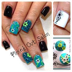 Blue and black nail art. Check out Pinked Out Salon on FB!