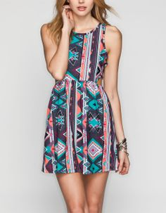FULL TILT Ethnic Print Cutout Dress 232356957 | Short Dresses | Tillys.com
