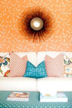 orange and turquoise