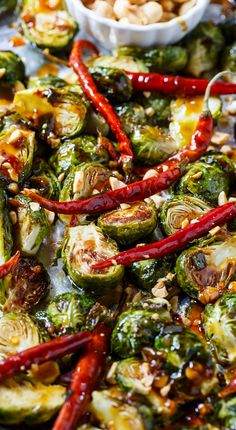Steal the show with these flavor-packed sweet heat Kung Pao Brussels Sprouts via Spicy Southern Kitchen! Healthy Recipes, Vegetable Recipes, Asian Recipes, Vegetarian Recipes, Cooking Recipes, Vegan Brussel Sprout Recipes, Spinach Recipes, Cooking Ideas, Clean Eating