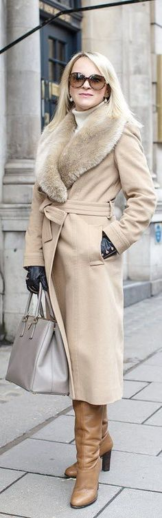 A Stylish Winter Coat: What To Look For - Tina Adams Wardrobe Consulting. Camel coat.