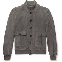 Valstar Valstarino Suede Jacket (€905) ❤ liked on Polyvore featuring men's fashion, men's clothing, men's outerwear, men's jackets, mens bomber jacket, mens fur lined bomber jacket, mens suede bomber jacket, mens fleece lined jacket and mens grey jacket