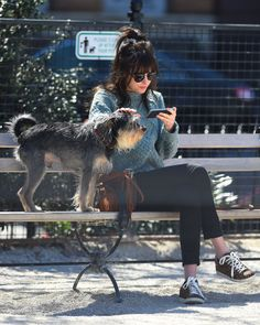 Dakota Johnson out in New York with her dog Zeppelin, 11th April.