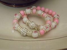 Pink October Breast Cancer Awareness Bracelet by nubiannaturals on Etsy