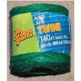 CORDAGE SOURCE 1006G Jute Twine, 140-Feet, Green. 140' Green Jute Twine, plied yard construction. Used indoors and outdoors, biodegradable. Holds knots in well and ties easily.