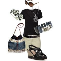 Summer Black & Blue, created by srsnyder on Polyvore features a Jewelry Creations by Lyndsey bracelet :)
