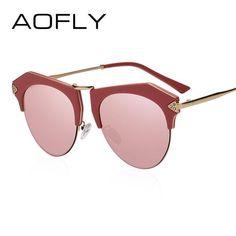 AOFLY BRAND DESIGN Women Sunglasses Fashion Men Retro Reflective Mirror Sun  glasses Female Vintage Gafas De 454049f48b