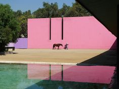 Barragán developed his own take on modernism, with the use of vivid colors and textural contrast as shown here in the Caudra San Christobál stables, designed in 1966.  Inspirational images and photos of Pools : Gardenista