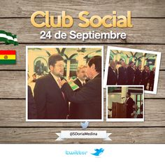 Jurando como nuevos socios del Club Social 24 de Septiembre, madre de todas las instituciones cruceñas.  El General Erland Camacho Mansilla, presidente de la institución nos dio la bienvenida al club, el cual tiene más de un millar de socios.