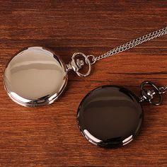 Black Silver Luxury Steampunk Smooth Steel Quartz Pocket Watch Pendant Chain 0afabc072ff