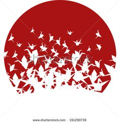Illustration of Round Japanese origami paper cranes pattern vector art, clipart and stock vectors. Japanese Origami, Japanese Art, Origami Paper Crane, Paper Cranes, Chinese Embroidery, Futuristic Art, Modern Graphic Design, Paper Texture, Vector Art