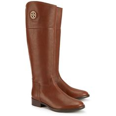 Tory Burch Junction Riding Boots, Extended Calf ($495) ❤ liked on Polyvore featuring shoes, boots, genuine leather boots, equestrian riding boots, knee high leather boots, equestrian boots and shiny boots