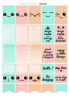 Printable stickers geomectric style kawaii pink, blue, beige | 3 pdf | Instant…