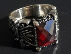 925 STERLING SILVER MEN'S RING WITH TOTALLY HANDMADE ABSOLUTELY REAL RUBY #Handmade