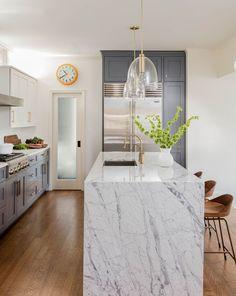 Avon Hill Cambridge - Elms Interior Design - Kitchen - Marble Waterfall Island Countertop