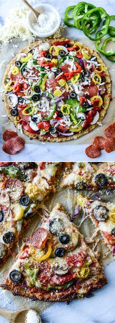 Pizza Supreme on Cauliflower Crust by @howsweeteats I howsweeteats.com
