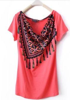Red Scarf Collar Print Short Sleeve T Shirt