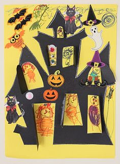 Creativity Abounds: The Things You See At A Halloween… Halloween Art Projects, Halloween Trees, Halloween Crafts For Kids, Halloween Activities, Diy Halloween Decorations, Holidays Halloween, Vintage Halloween, Halloween Diy, Happy Halloween