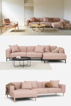 Our Hem sofa collection now includes the option of a chaise. The chaise brings a laid-back aesthetic to your space and allows you to stretch out when lounging. Create your perfect sofa by choosing either a left or right chaise and steel or wooden legs. Once you've locked in your configuration, choose your upholstery from our range of premium fabrics. Pictured here is our Axiom Weave fabric in 'Musk' colourway. Your Perfect, Woven Fabric, Your Space, Sofas, Weave, Ottoman, Armchair, Upholstery, Fabrics