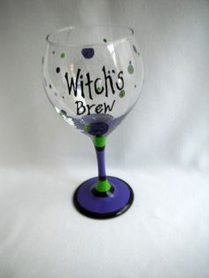 """Hand-painted Halloween Wine Glass - """"Witch's Brew"""" Set of 2. $25.00, via Etsy."""