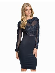 55d54f0fc11 2016 Autumn Winter New Elegant Sexy Bodycon Embroidery Lace Mesh Slash Neck Long  Sleeve Women Knee Length Dress Office Party