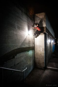 London's South Bank Centre. Possibly the UK's best buildering circuit. Parkour, Climbers, Rock Climbing, Urban, Night, Architecture, City, Building, Photography