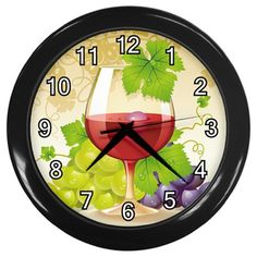 Wine+Glass+With+Grapes+Black+Frame+Kitchen+Wall+Clock